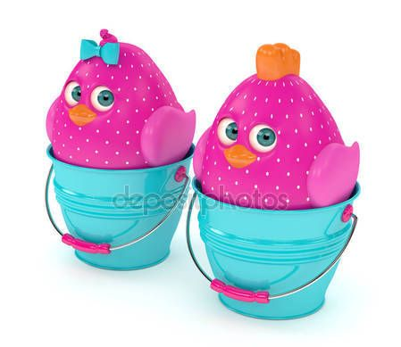 3d render of Easter chicks in buckets — Stock Photo © ayo888 #143688919