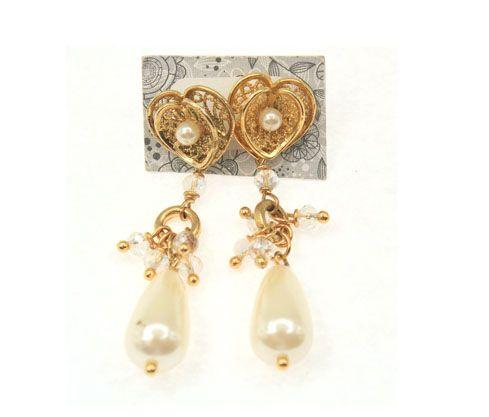 Aretes lagrima perla y murano cristal x und