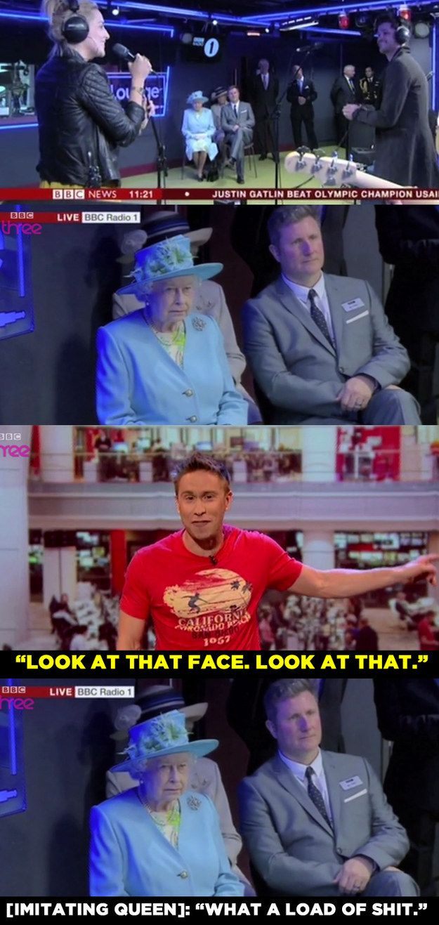 When he said this about The Queen visiting Radio 1, which included her watching The Script sing. | 15 Times Russell Howard Nailed It