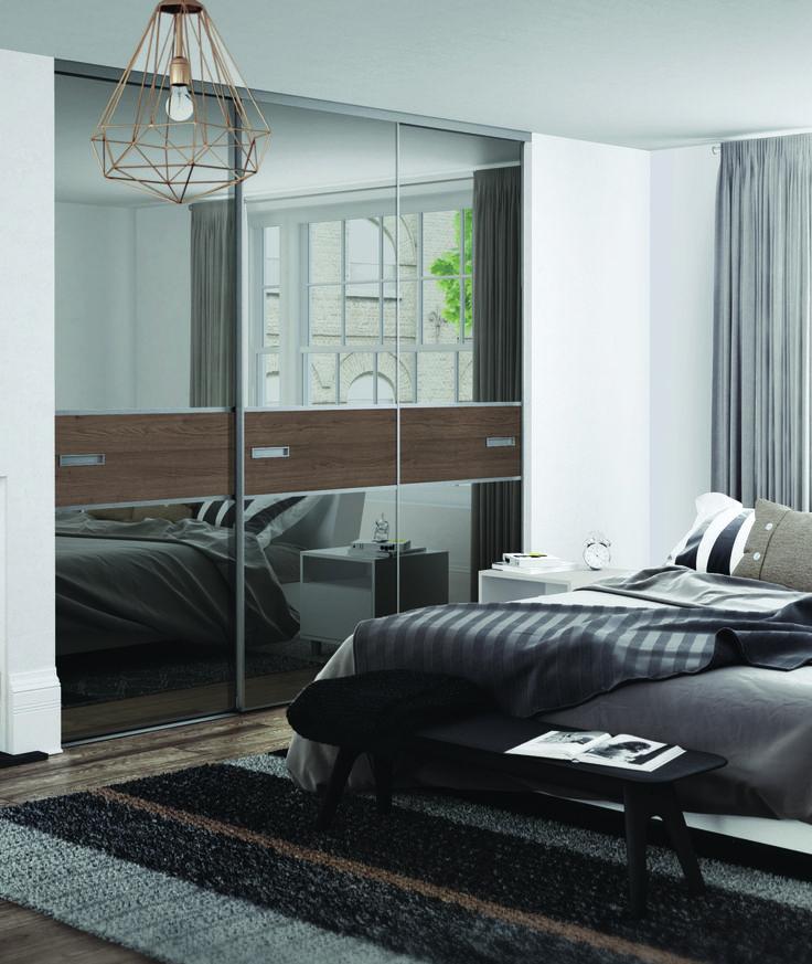 Premium Mini 3 panel fineline sliding wardrobe doors in Grey Mirror / Tortona Chestnut wood with & 16 best White Sliding Doors images on Pinterest | Built in cabinets ...