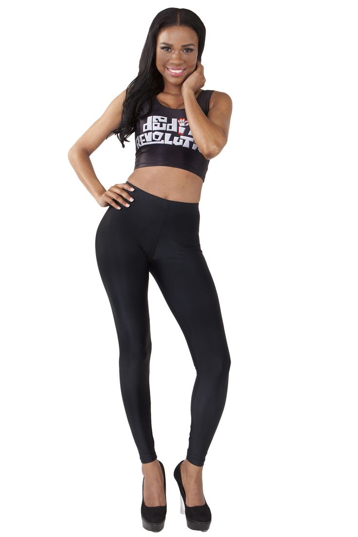 Shiny Black Leggings - $60.00 AUD