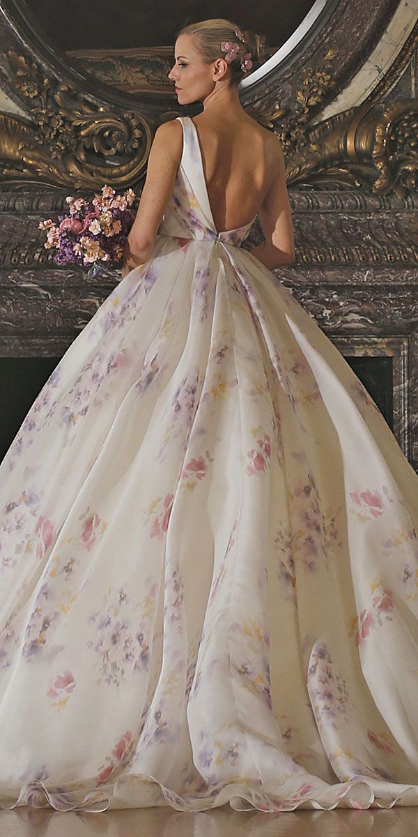 Cute floral wedding dresses via romona keveza