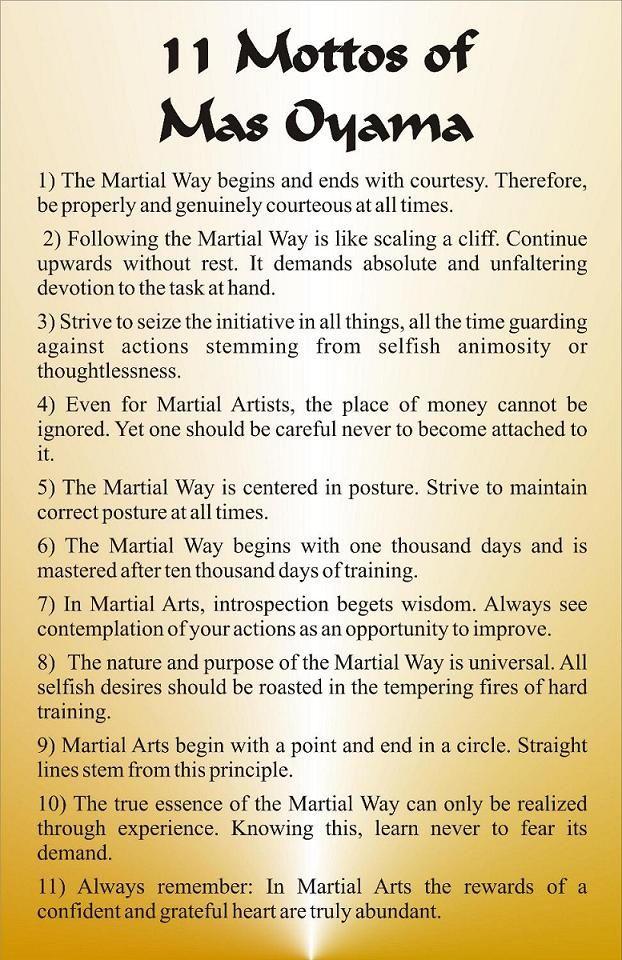 The Eleven Mottos Of Mas Oyama                                                                                                                                                                                 More