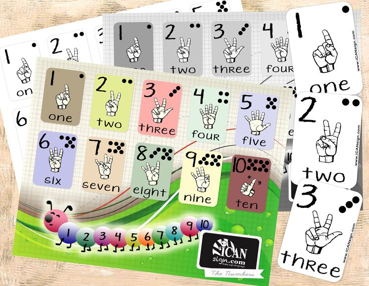 ASL Numbers Charts and ASL Numbers Flashcards