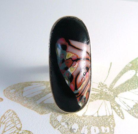 Bague réglable en métal argent et argile polymère rose, rose pastel, gris, jaune pastel et noir : Bague par commeilvousplaira