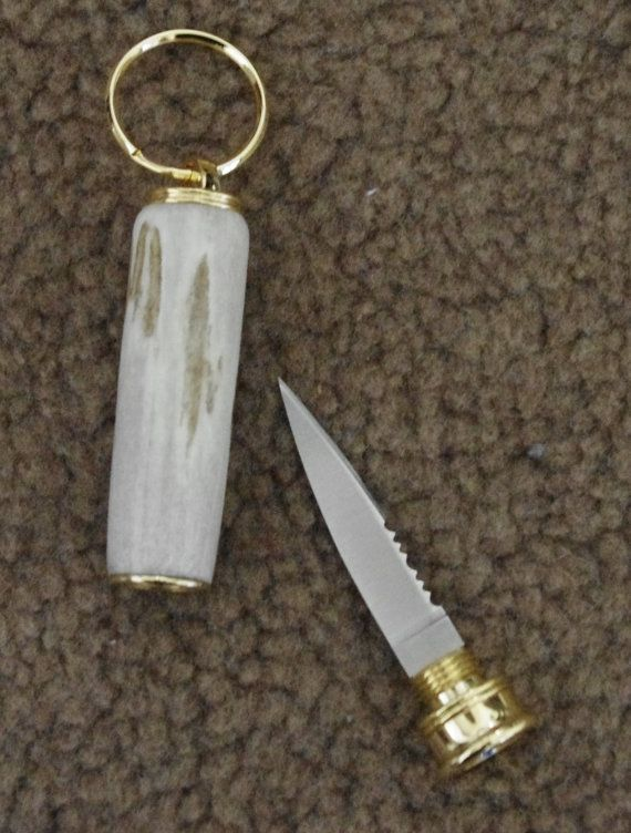 Keychain with hidden knife. Antlers has a by DJwoodcrafts on Etsy, $22.00