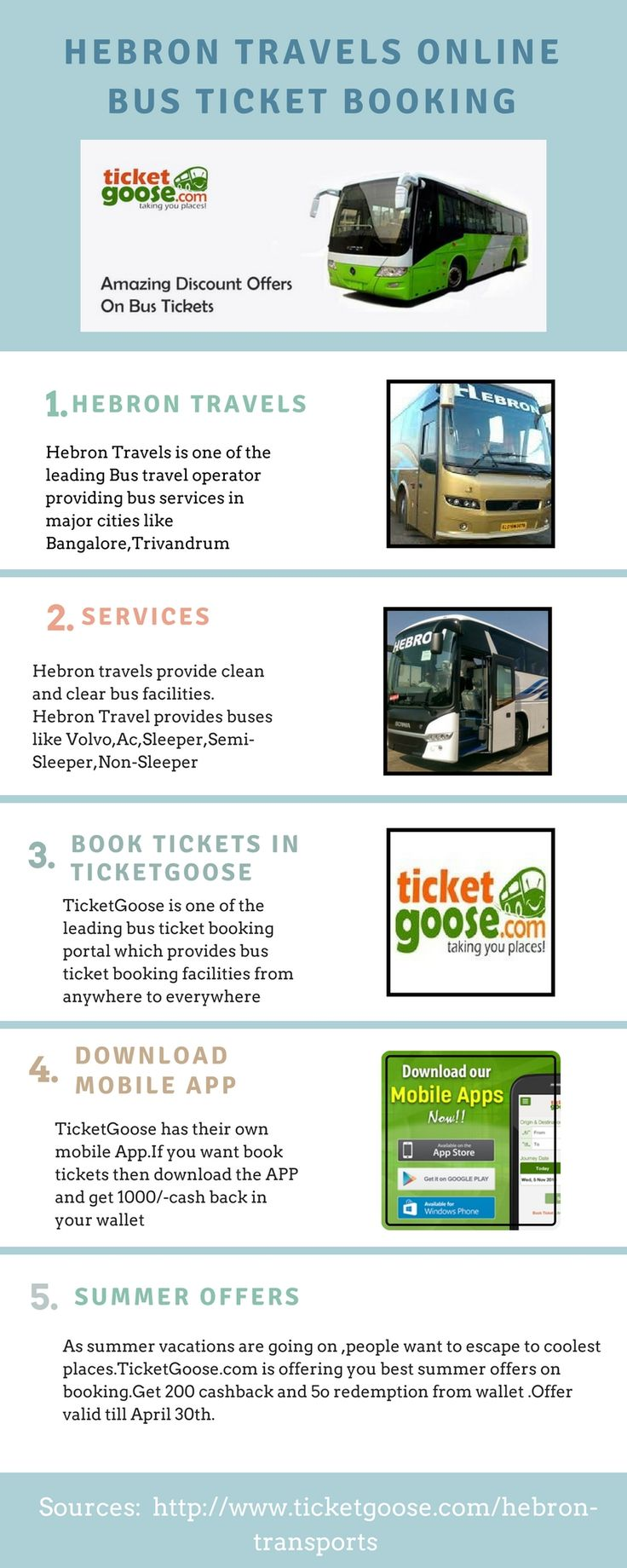 Herbon Travels provides the bus ticket booking to the major cities, Book the tickets for Hebon Travels at ticket goose at the best fare with best service  http://www.ticketgoose.com/hebron-transports