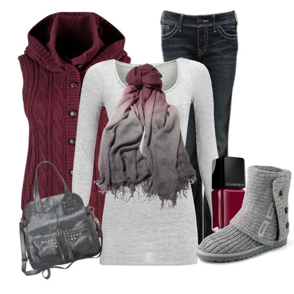 Plum an grey fall outfit