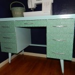 Fabric covered DIY desk.