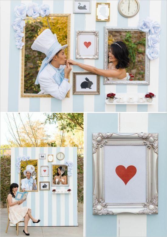 alice in wonderland themed photo booth #winterwonderland #photoboothideas #weddingchicks http://www.weddingchicks.com/2014/03/07/winter-in-wonderland-wedding-ideas/