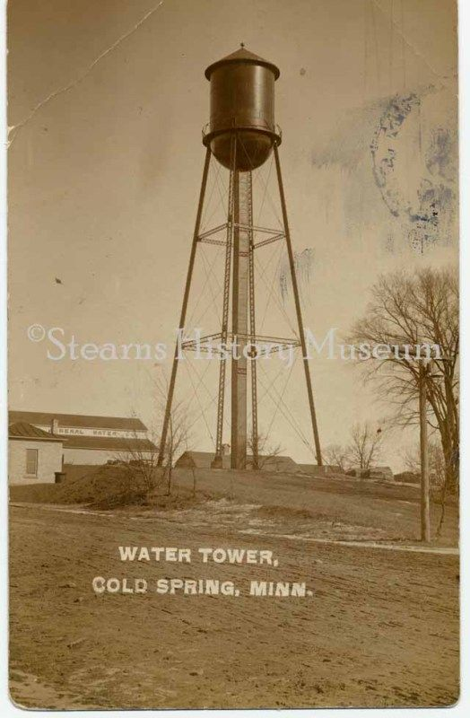 Water Tower, Cold Spring ,MN, ca. 1910 #historicphoto #Minnesota