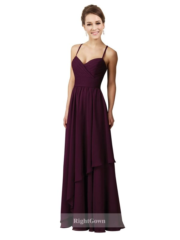 Cheap Right Gowns 2018 Summer Trends Long Chiffon Sweetheart Grape Bridesmaid Dresses with Straps 172023, Right Bridesmaid Dresses, Cheap Bridesmaid Dresses and Buy Discount Bridesmaid Dresses2018