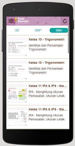 Belajar matematika kelas 6 s.d kelas 12, situs edukasi nomor 1 di Indonesia<br>Dengan menggunakan aplikasi Pandai Matematika, Anda dapat belajar materi dan mengikuti Quiz matematika secara cepat dan tepat kapan saja dan dimana saja. Aplikasi ini juga dilengkapi dengan video-video tutorial cara pengerjaan soal-soal matematika secara cepat dan tepat.<br>Anda dapat melihat berita dan artikel seputar pengetahuan matematika dan tips-tips lainnya. Anda juga dapat selalu terhubung dan berbagi…