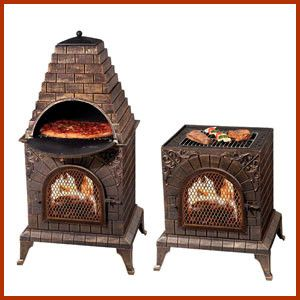 Aztec Allure Cast Iron Chiminea Pizza Oven The Aztec Allure offers an outdoor fireplace with easy grill access. With an outdoor fireplace and oven to enjoy a fire and cook your dinner at the same time