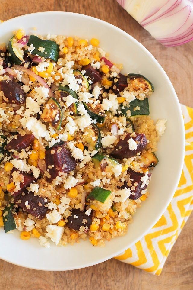 Grilled Zucchini, Corn, and Beet Quinoa Salad with Lemon Dressing | theroastedroot.net
