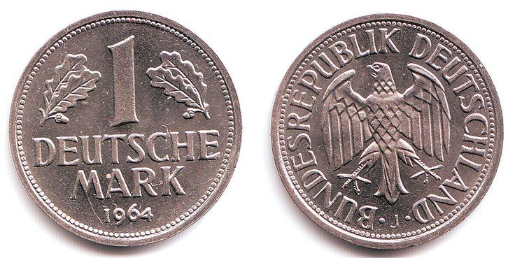 Deutschland 1 Deutsche Mark 1 Mark 1964 J UNC 60s