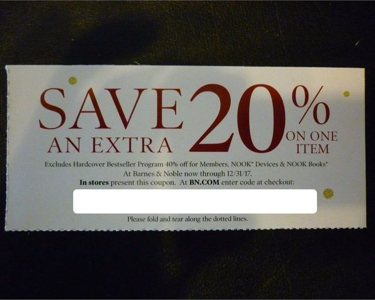 Barnes and noble coupon for 20 off one item exp 1231