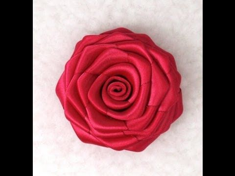 "Rolled Fabric Roses, Tutorial :  https://www.youtube.com/watch?v=8C0iFirbhIQ  Please visit our store at:  http://daisyclub.etsy.com/    More info at http://daisyclubcrafts.com/how-to-make-ribbon-roses/  Ribon Rose, How to make, Tutorial    Material: Double face satin ribbon 1.5"" wide, length 24"" ; Glue Gun; Scissors; Light; Brooch pin;                 ..."
