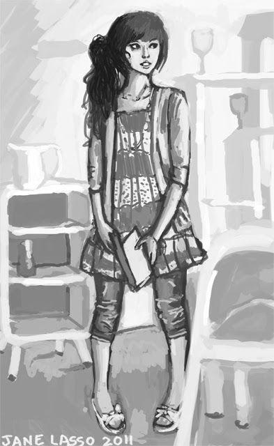 chica fashion en escala de grises photoshop