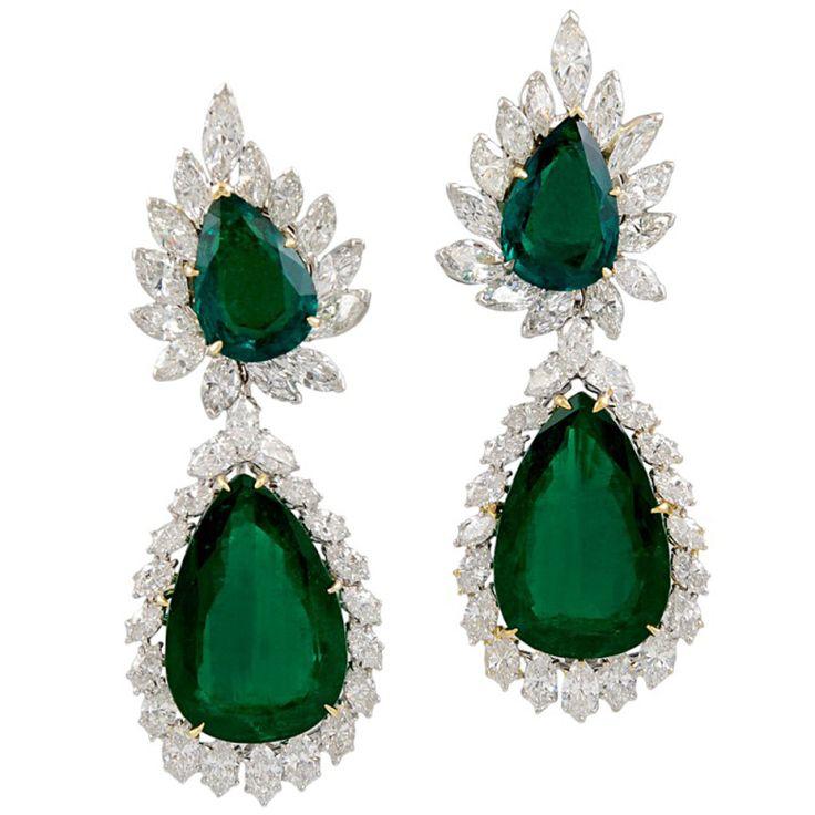 HARRY WINSTON Pear Shape Emerald  Diamond Earrings, ca. 1960s
