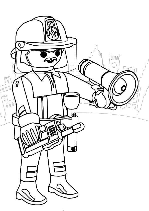Coloriage Playmobil Pompier Ecole Pinterest Playmobil