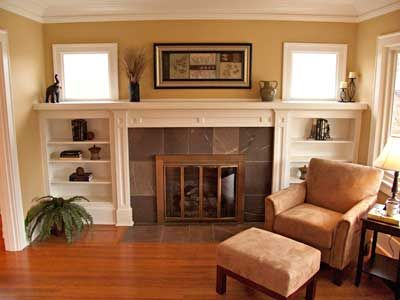 Craftsman Bungalow Interiors | Fireplace marble tile and warm floor and wall colors make this a cozy ...