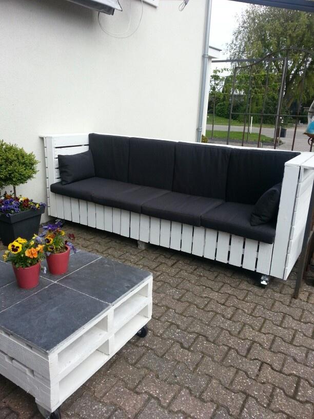Lounge bank van pallethout.