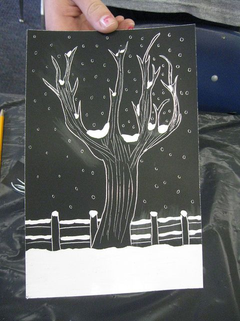 Student work (middle schooler)--a snowy nightscape. Like how this student engaged with the black-and-white nature of a scratchboard project.
