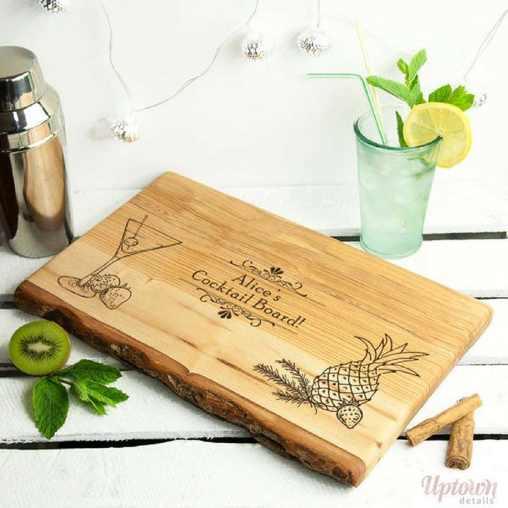 Is your friend an aspiring #cocktail maker? This personalised cocktail maker's cutting board will make the perfect #gift! #cocktailmaker #giftsforher #personalisedgifts #giftshop #giftforfriend