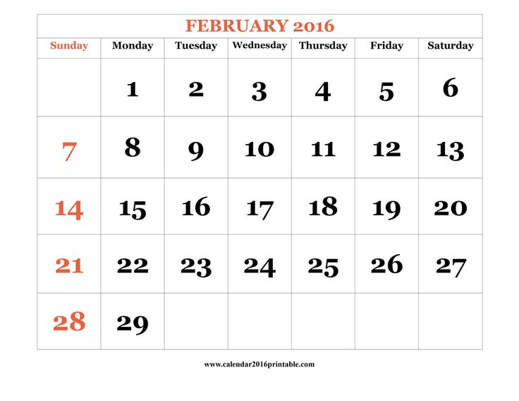 February 2016 Calendar PDF, free to download and print.