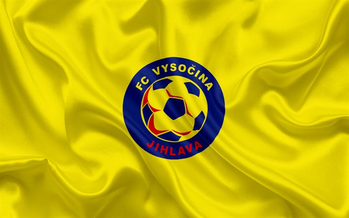 Download wallpapers FC Vysocina Jihlava, Football club, Jihlava, Czech Republic, Vysocina Jihlava emblem, logo, yellow silk flag, Czech football championship