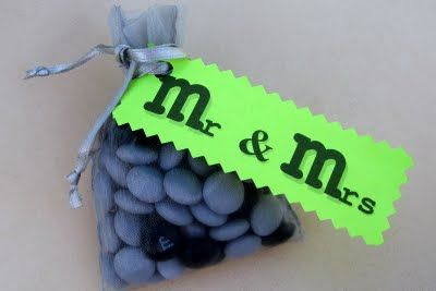 Cute party favor idea! The m's would be changed to purple, and they can also be customized to say what you want or your wedding date!