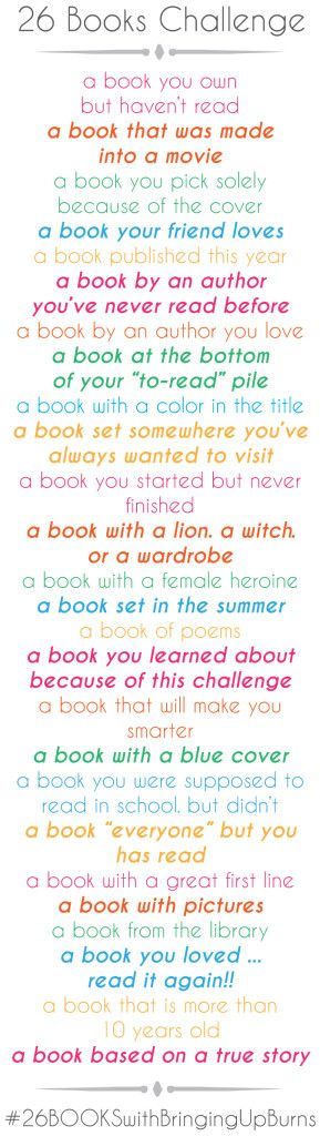 26 Book Challenge...ideas. Who wants to do this with me? We can meet once a month and see what we've read.