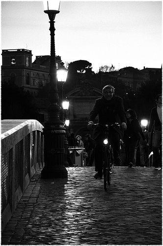 Bicyclist on the Ponte Sisto