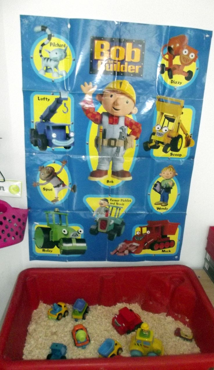 Bob The Builder theme (construction toys) sensory play (wooden chips, construction vehicles) for School Years@AcornsNursery