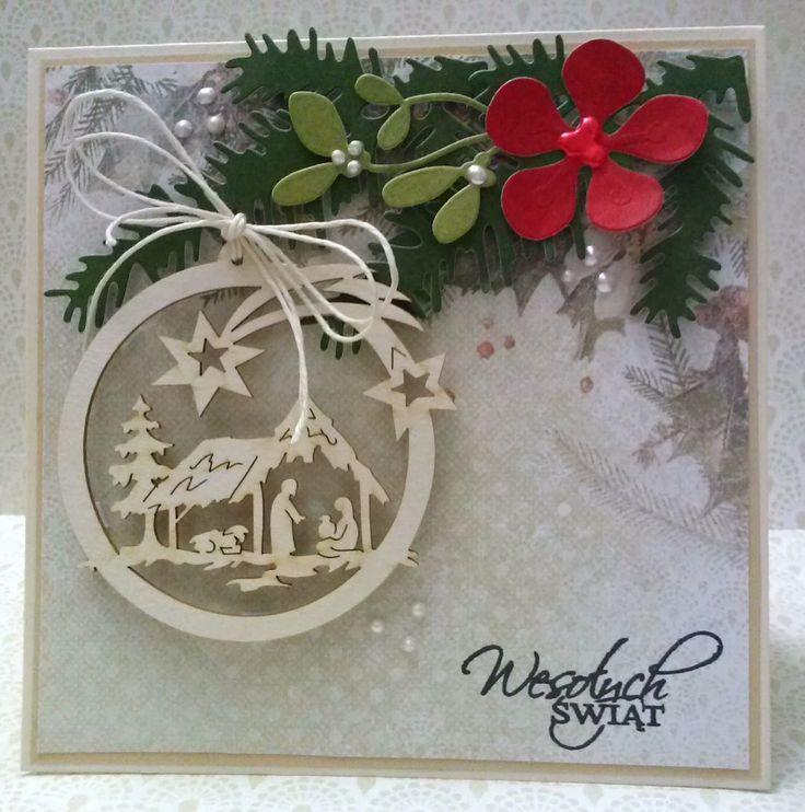 Scrapbooking - inspiracje i galeria: Kartka Bożonarodzeniowa - Forma bombki ze stajenką i świętą rodziną....
