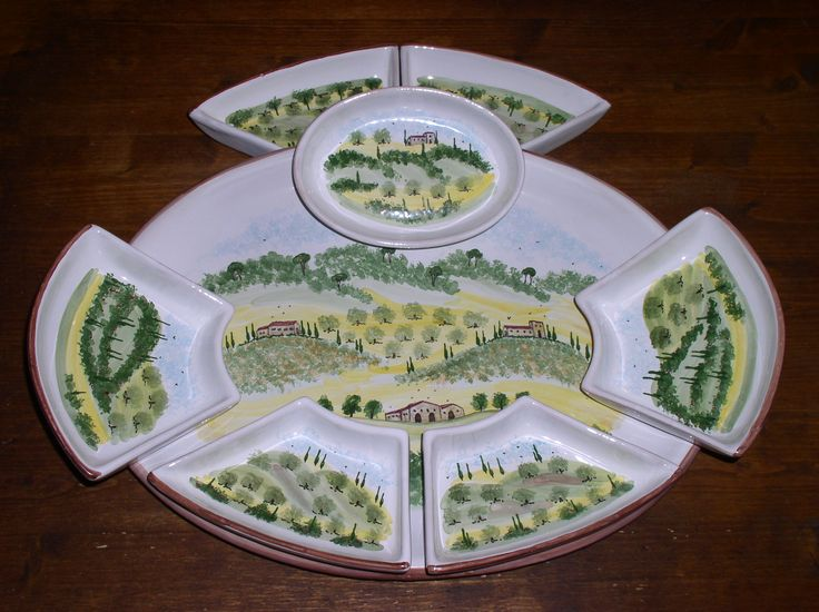 large antipasti set - large platter with seven fitting bowls