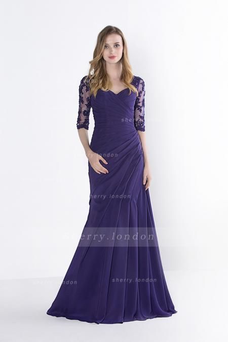 VINTAGE LACE BODICE HALF SLEEVED FIT FLARED LONG DROPPED WAIST CHIFFON PROM DRESS