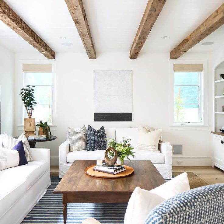 Gorgeous Faux Beams And Soft Colors In This Airy Sun Filled Living Room.