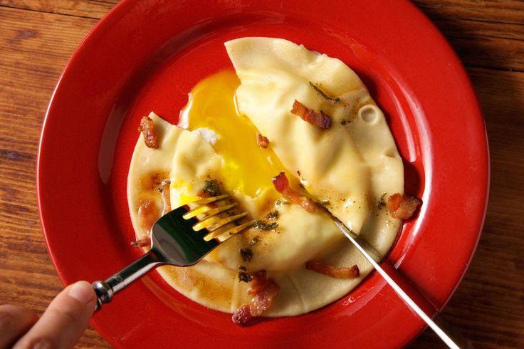 Egg Yolk Ravioli (Uova da Raviolo) with Bacon-Sage Sauce