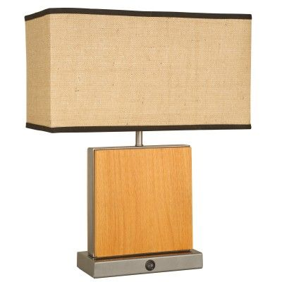 SKU: CT4951  Transitional Table Lamp – 22.25″ Height  Oak Wood Finish  Shade: (9.5×18)x(9..5×18)x10 Burlap  Three Way Medium Base Socket – 150W Max.  8′ Black Cord  4-6 Weeks Lead Time, Minimum Order Quantity = 12  Shown With Optional Features: On\Off Rocker  Additional Options: Base Switch, GCO, USB Port  Optional Finishes: Mario Standard Wood  Country Of Origin: USA