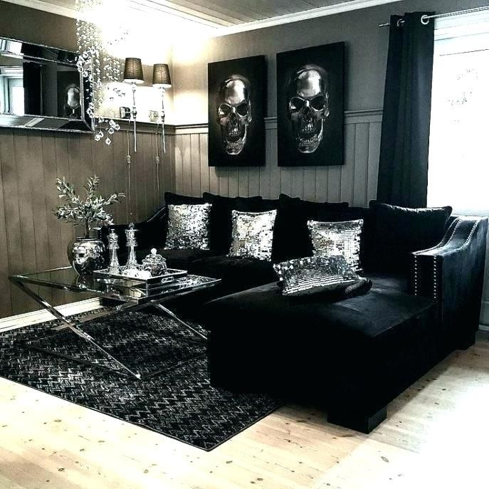 Sumptuous Design Ideas Black White Silver Living Room