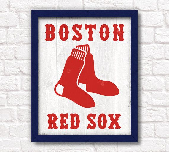 Boston Red Sox - rustic wall hanging 16x20 handmade sign - Red Sox wall sign for Boys room or Man cave decor - Boston sports fan      More Boston
