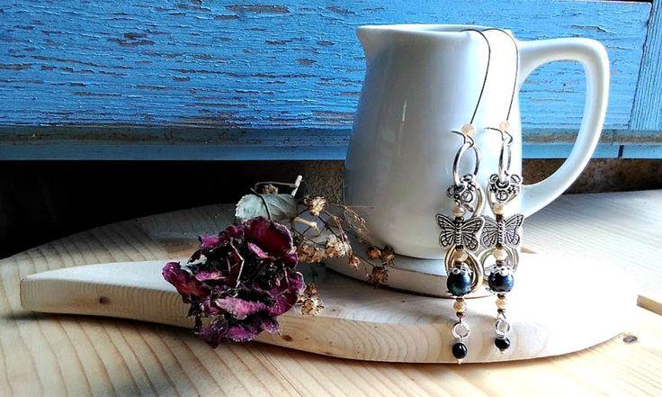 Boucles d'oreilles Argent rustique vintage papillon Boucle extra long XXL : Boucles d'oreille par itssomimi2