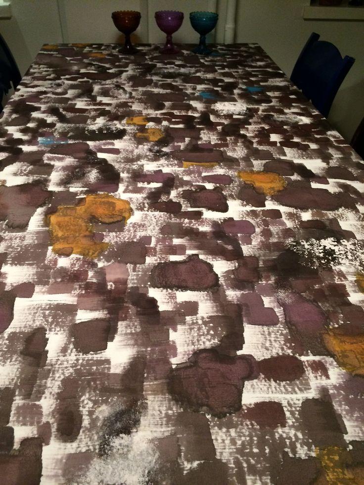 Aspens, hand painted tablecloths, 150 x 300 cm.