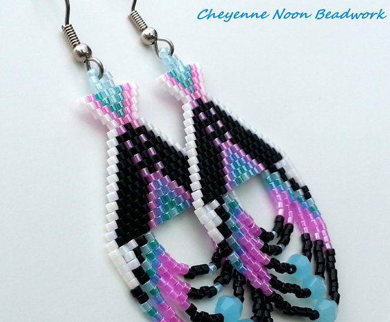 Native American Beaded Earrings  Tipis  Black and by CheyenneNoon