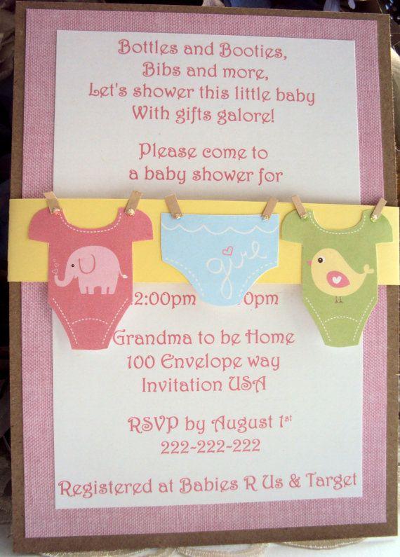 baby shower invitation girls onesie clothesline baby shower