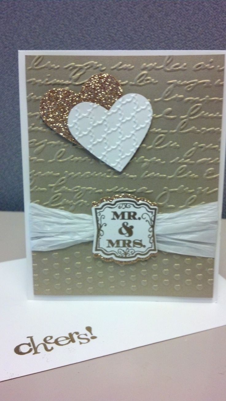 50th Anniversary Card featuring Stampin' Up's Gold Paper.  Pinned for the SUDSOL Pinterest Challenge