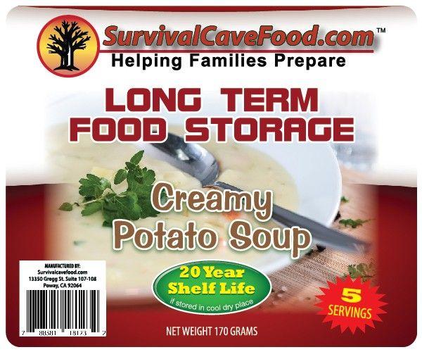 Survivalcavefood Long term food storage- 50 Potato Soup 5 serving meal pouches