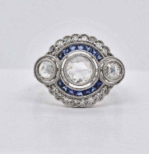 1.00 CT Round Cut Diamond /& Sapphire Vintage Art Deco Engagement 925 Silver Ring